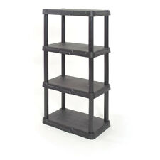 4-Tier Plastic Freestanding Shelving Unit Garage Indoor Storage Durable Solid