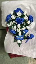 LARGE WEDDING BOUQUET ROYAL BLUE AND WHITE CALA LILIES CASCADE ANY COLOR RUSH AV