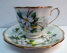 ROYAL ALBERT WHITE DOGWOOD FOOTED CUP&SAUCER GOLD TRIM BONE CHINA ENGLAND VNT
