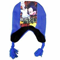 Disney Mickey Mouse Born To Rock Toddler Boy's Blue Hat & Mittens Set Sz. 2-4T