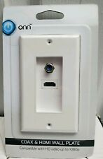 ONN Coax and HDMI Wall Plate - White - Compatible Video up to 1080p