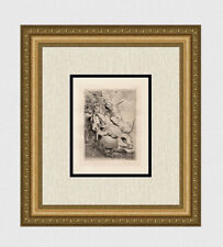 """Intense REMBRANDT 1800s Etching B116  """"The Fierce Lion Hunt"""" Gallery Framed COA"""