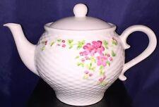 Vintage 1985 Teleflora Gift Tea Pot Basket Weave Texture and Pink Flowers