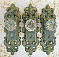 VINTAGE STYLE CAST IRON DOOR PLATE with ACRYLIC/GLASS KNOB,  ANTIQUE TEAL/GREEN