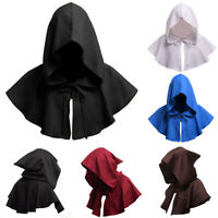 KQ_ Men Women Medieval Cloak Halloween Witch Cosplay Solid Hooded Cape Cowl Hat