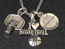 "I Love Basketball Hoop Backboard Charm Tibetan Silver 18"" Necklace Mix B"