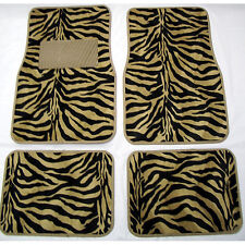 4PC SET GOLD ZEBRA SAFARI CAR TRUCK FLOOR MATS CARPET