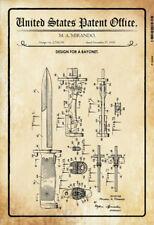 US Patent Bajonett Bayonet 1955 Blechschild Schild gewölbt Tin Sign 20 x 30 cm