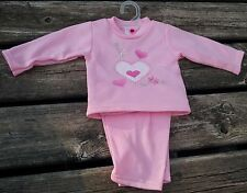 Girls Teddy Boom 3 6 mo Sweat suit outfit Pink 2 pc set Hearts & Flowers NEW