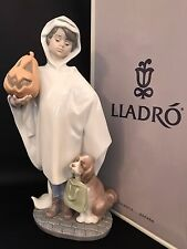 """Very Rare Lladro """"Trick or Treat"""" (6227 Mint in Box) Boy with Pumpkin & Dog"""