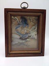 "Basil Ede Blue Jay shadowbox art print 6.5"" 3D winter snow picture Bird"