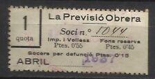 8366-SELLO ESPAÑA CUOTA LA PREVISION OBRERA EN CATALAN Y CASTELLANo 1937