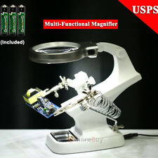 10LED Helping Hand Magnifying Soldering IRON Stand Lens Magnifier Clamp w/Clip