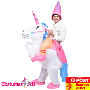 Mens Inflatable Unicorn Rider Costume Carry Ride Me Adult Blow Up Book Week On