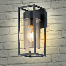 LED Rectangular Outdoor Wall Light Clear Metal Lantern Garden Wall Lamp ZLC079