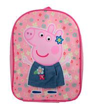 Peppa Pig 3D Skirt Floral Print Pink Childrens Backpack School Bag Rucksack Kids
