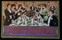 Victorian People at Dinner Party Antique Greeting postcard--s601