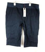 XCVI Wearables, Women's Navy Blue Bermuda Stretch Shorts, Size Extra Large