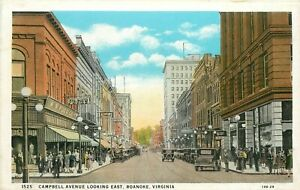 c1920 Campbell Avenue Looking East, Roanoke, Virginia Postcard