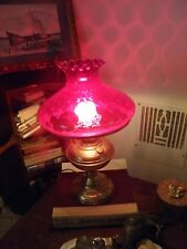 ALADDIN #5 BRASS TABLE LAMP w/ RED SCALLOPED & DIMPLED SHADE,  Electric