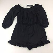 Bebe Womens Size Medium Black Satin Shorts Romper $119.  I9