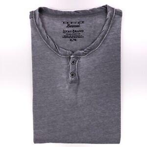 Lucky Brand Henley T-Shirt XL Gris Venice Épuisement Neuf Nwt Coton Homme Sz