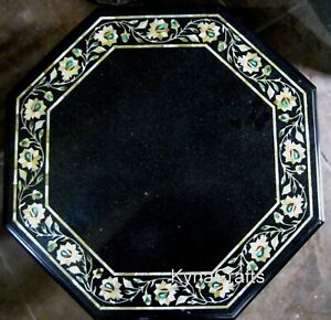 21 Inches Marble End Table Top with Floral Design Coffee Table Intricate Work