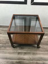 "vintage Drexel Wood Glass Top Coffee Side Table Wheels Shelf 19""x19"" x 16.5""tall"