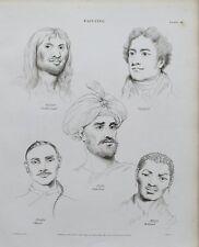1819 diversités peinture du visage humain impression antique Gravure Rees