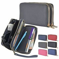 Womens Darby Long Purse Coin Card Smartphone Holder With Wrist Strap Double Zip