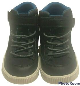 Carters Boy Toddler High Top Faux Leather Shoes Size 11 Rolling Navy Brown
