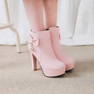 Women's Ankle Boots Bowknot Metal Decor High Heels Platform Casual Shoes Grace