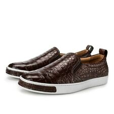 Men Shoes Genuine Crocodile Alligator Belly Skin Leather Sneakers Size 10US 43EU