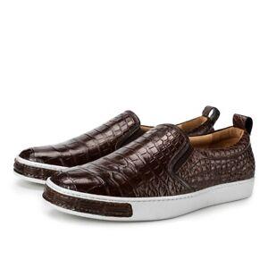 Men Shoes Genuine Crocodile Alligator Belly Skin Leather Sneakers Size 10US 43EU