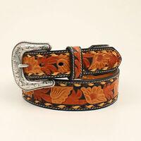 Nocona Black/Tan Leather Mens 3 Tone Floral Belt
