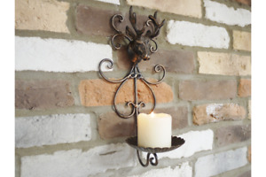 Deer Stag Candle Holder Cast Iron Wall Mounted Antique Style Sconce Decoration
