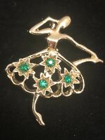 Vintage Signed GERRY'S Gold Tone Green Rhinestones BALLERINA Dancer Pin Brooch