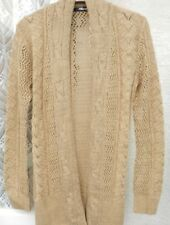 ( Ref 52 ) Jane Norman - Size 14 - Beige Long Sleeve Cable / Lace Cardigan