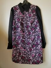 NWT Nanette Lepore Plum Multi/Black  Jacquard A-line dress Chiffon sleeves sz 8