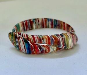 """LEA STEIN Paris Multicolor Celluloid Plastic SNAKE Bracelet Adj 2.5"""" D Bracelet"""