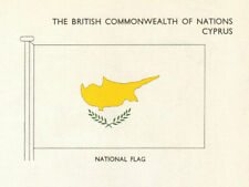 CYPRUS FLAGS. National Flag 1965 old vintage print picture