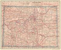 1906 Antique COLORADO State Map Vintage Map of Colorado Gallery Wall Art 8353
