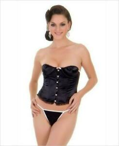 2 PC Sexy Satin Corset With Lace Up Back and Matching G-String - Basque Bodice