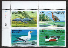 MARSHALL ISLANDS, Scott # 164-167 (167A), PLATE BLOCK OF 4 MARINE BIRDS, MNH