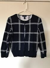 Chaps Cardigan Sweater 100% Cotton Navy Blue With White Plaid Women's Size M