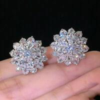 Gorgeous Stud Earrings Women 925 Silver Wedding Jewelry Cubic Zircon A Pair/set
