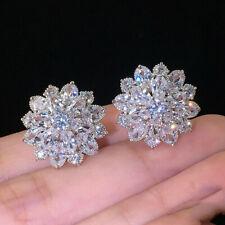 Великолепные серьги-гвоздики женские 925 серебро свадебные ювелирные украшения кубический циркон пара/комплект