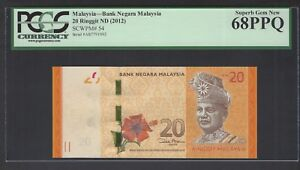 Malaysia  20 Ringgit  ND (2012)  P54   Uncirculated  Graded 68