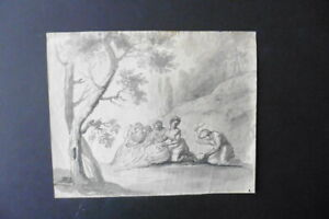 FRENCH SCHOOL 18thC - DOMESTIC SCENE CIRCLE GREUZE - FINE ROCOCO INK DRAWING