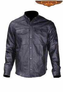 Men's Motorcycle Light Weight Leather Shirt w/ Button Snap Cuffs & Multi Pocket